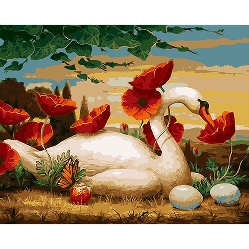 Swan with Eggs & Flowers - Paint by Numbers Kits
