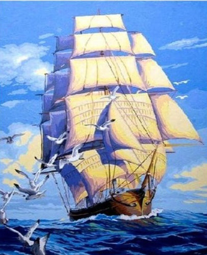 Sailing Boat in Deep Blue Sea - Paint by Numbers Kits