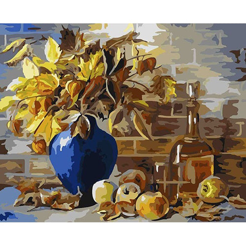 Gold Leaves in Blue Vase near Golden Apples - Paint by Numbers Kits