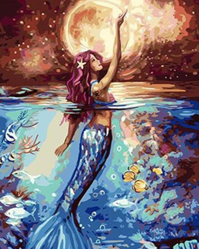 A Beautiful Blue Mermaid - Paint by Numbers Kits