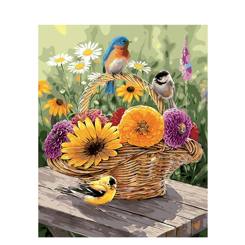Lovely Sparrows and Floral Basket - Paint by Numbers Kits
