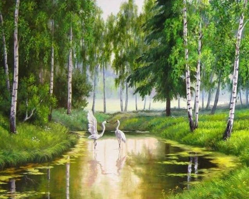 A Swan Couple in Forest Lake - Paint by Numbers Kits