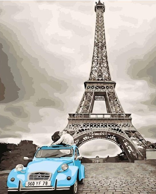 A Couple Kissing in Blue Car near Eiffel Tower - Paint by Numbers Kits