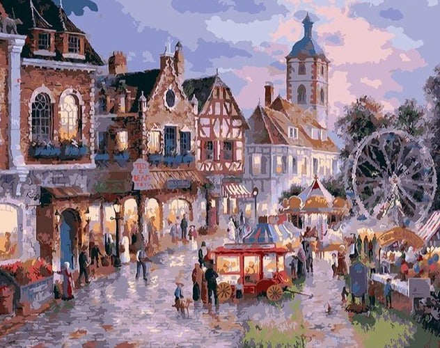 A Busy Town - Paint by Numbers kit - Paint by Numbers Kits