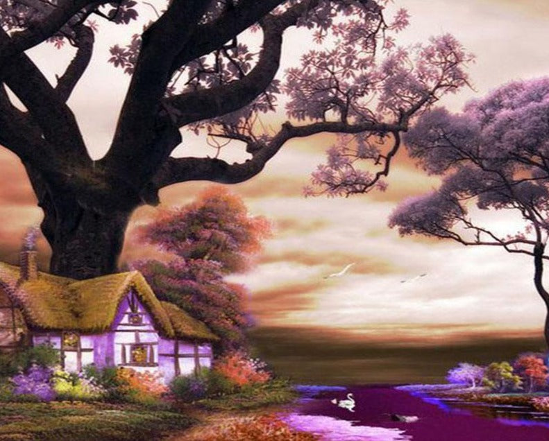 A Beautiful House under a Huge Tree - Paint by Numbers Kits