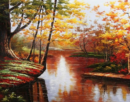 A Lovely Scene of lake in Beautiful Forest - Paint by Numbers Kits