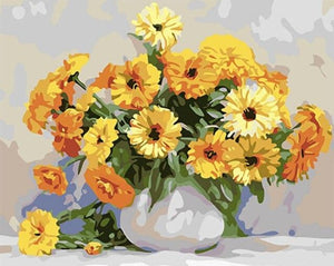 Sunflowers in White Vase - Paint by Numbers Kits