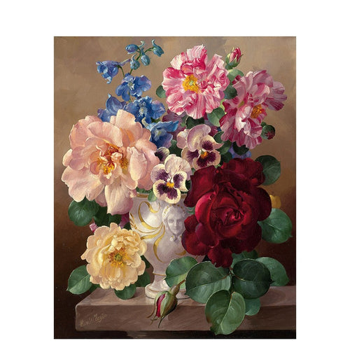Colorful Flowers in Vintage Vase - Paint by Numbers Kits