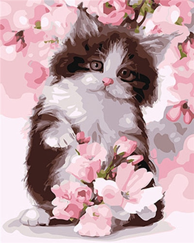 Kitten Playing with Pink Flowers - Paint by Numbers Kits