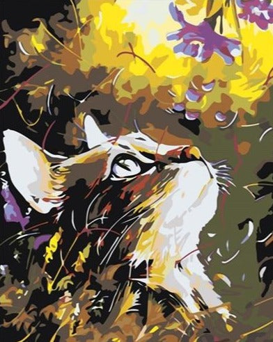 Beautiful Cat Staring at Purple Flowers - Painting kit for All - Paint by Numbers Kits