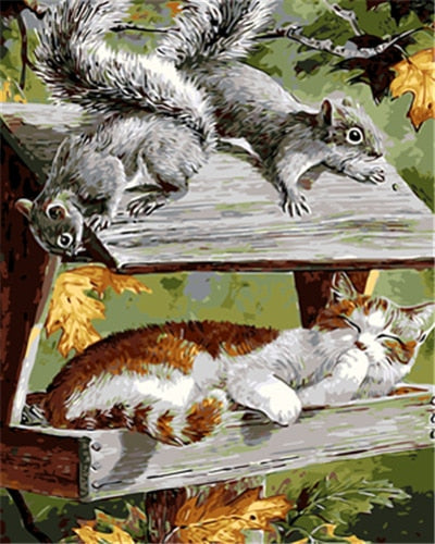 Squirrels & Cat - Paint by Numbers Kit - Paint by Numbers Kits