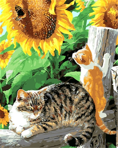 Cats in Sunflower Field - Paint by Numbers Kits