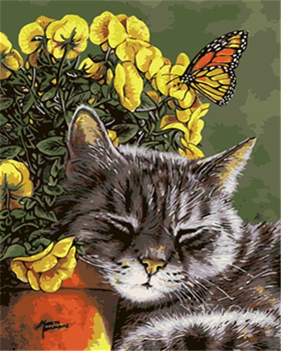 Butterfly and a Sleeping Cat by Floral Vase - Paint by Numbers Kits