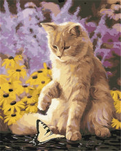 Load image into Gallery viewer, Cat Playing with a Butterfly - Paint by Numbers Kits