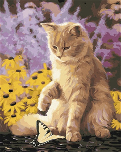 Cat Playing with a Butterfly - Paint by Numbers Kits