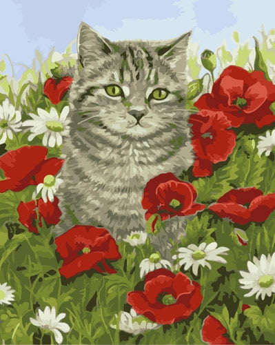 A Brown Cat in Floral Field - Painting by Numbers - Paint by Numbers Kits