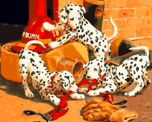 Dalmatian puppies - Paint by Numbers - Paint by Numbers Kits