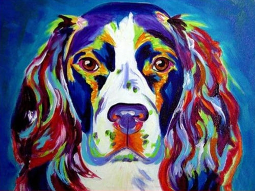Colorful Dog Paint by Numbers kit - Paint by Numbers Kits