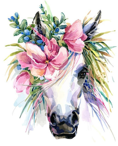 Flowerful Horse - Paint By Numbers - Paint by Numbers Kits