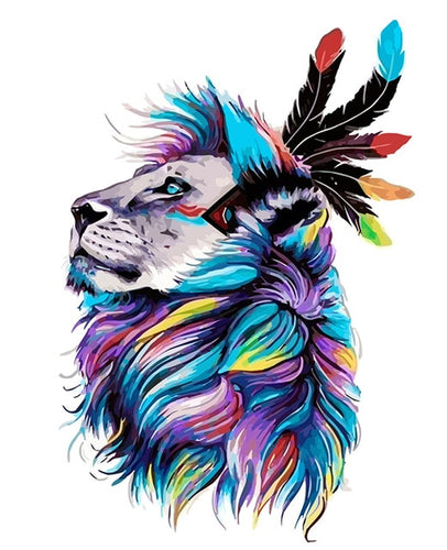 Colorful Lion Painting - Paint by Numbers Kits