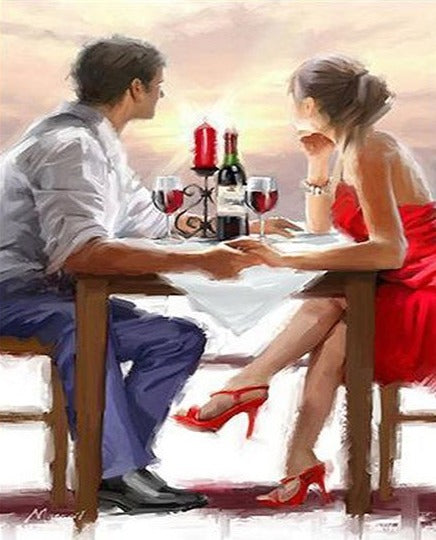 Young Couple Dating - Painting by Numbers - Paint by Numbers Kits