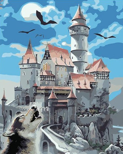 Wolf howling outside the Castle - Fairy Tale - Paint by Numbers Kits