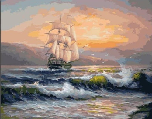 Sailing Ship on the Deep Sea - Paint by Numbers Kits