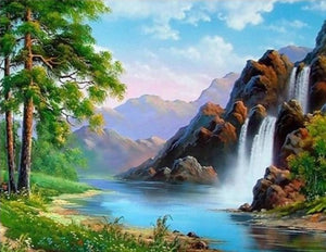 An Amazing Double Waterfall - Paint by Numbers Kits