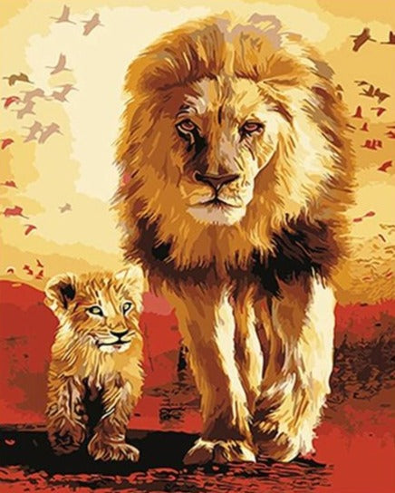 The King with Cub Painting by Numbers - Paint by Numbers Kits