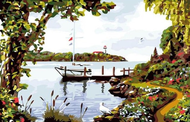Beautiful Lake During Spring Season - Paint by Numbers Kits