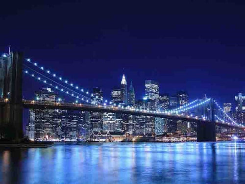 The Brooklyn Bridge [Night in New York City] Diamond Painting - Paint by Numbers Kits