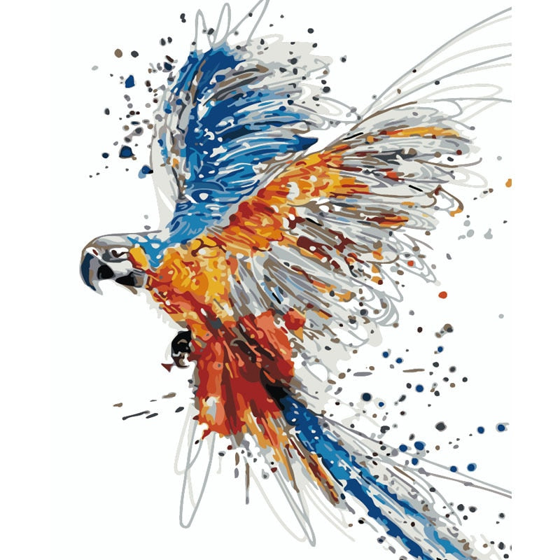Beautiful Color Splashing Parrot - Paint by Numbers Kits