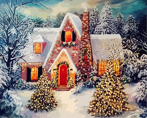 Christmas Landscape Drawing - Canvas by Numbers - Paint by Numbers Kits