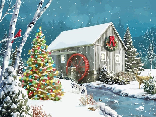 Forest Cottage Christmas Drawing by Numbers - Paint by Numbers Kits