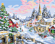 Load image into Gallery viewer, Christmas Landscape Drawing - Canvas by Numbers - Paint by Numbers Kits