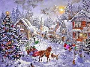 Christmas snow scene DIY Painting - Paint by Numbers Kits