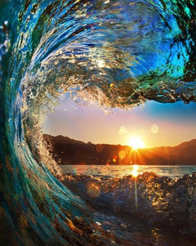 An Amazing Scene of Sunset and Water Wave - Paint by Numbers Kits