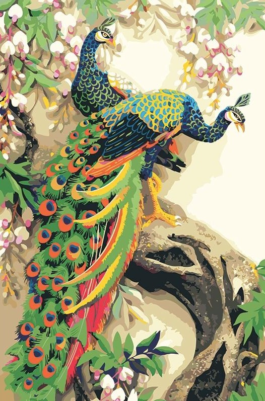 Beautiful Peacock Couple DIY Painting - Paint by Numbers Kits