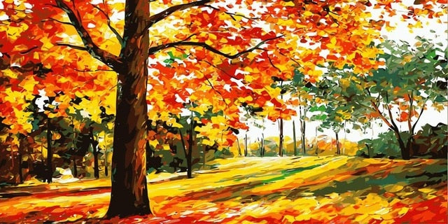 Autumn Trees DIY Painting - Paint by Numbers Kits