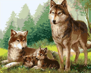 My Precious Paint by Numbers Wolf Family Painting - Paint by Numbers Kits