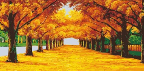 Yellow Trees Pathway DIY Painting By Numbers - Paint by Numbers Kits