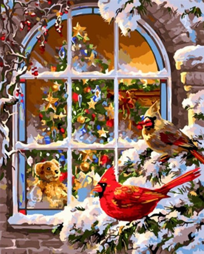 Christmas & Beautiful Snow Birds Painting Kit - Paint by Numbers Kits