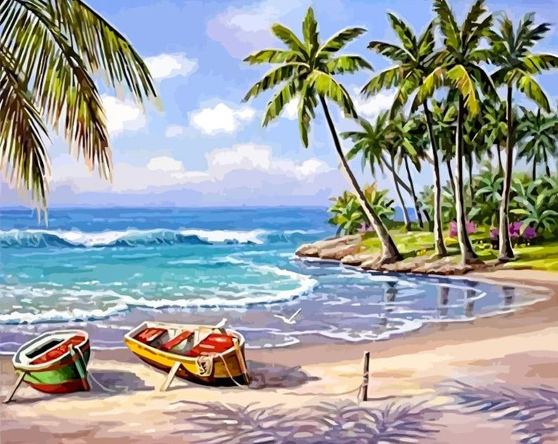 Coconut trees & Boats on the Beach - Paint by Numbers Kits