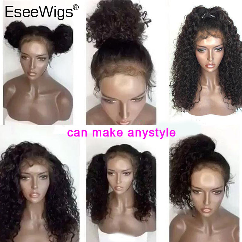 Eseewigs Silk Base Wigs Full Lace Human Hair Wigs Pre Plucked Curly Brazilian Remy Hair For Women Baby Hair Silk Top Lace Wigs