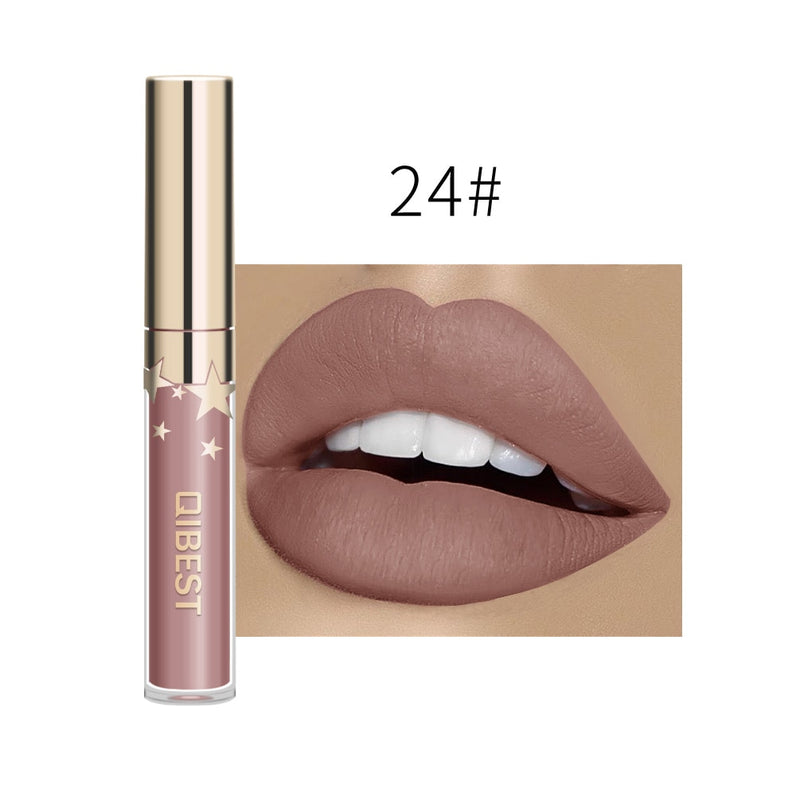 Qibest Waterproof Liquid Lip Gloss Metallic Matte Lipstick For Lips Cosmetic Sexy Batom Mate Lip Tint Makeup Lasting Lipgloss