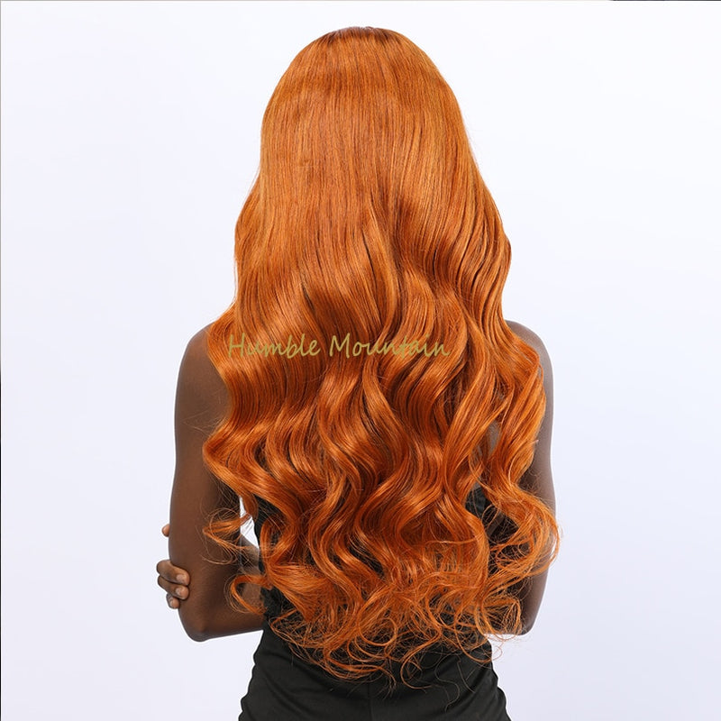 Orange Color Lace Front Human Hair Wig Woman Natural Water Wave Wlace Long  26 Inch Hairpieces Remy Hair Wigs High Density