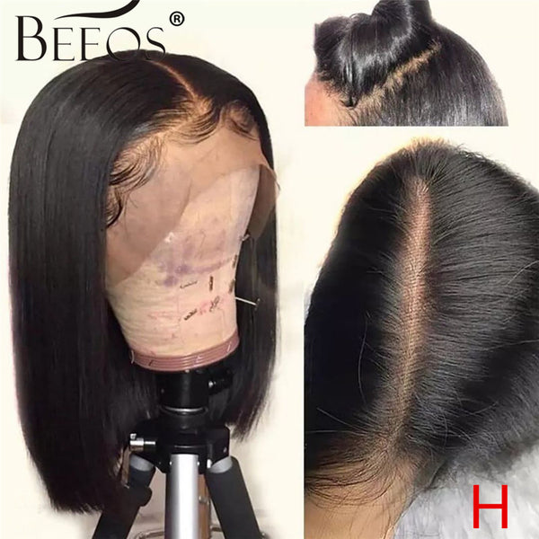 "Beeos High Ratio 13*4 Lace Front Human Hair Wig Straight Bob 130% Brazilian Remy Hair Bleached Knots  8""-16"""