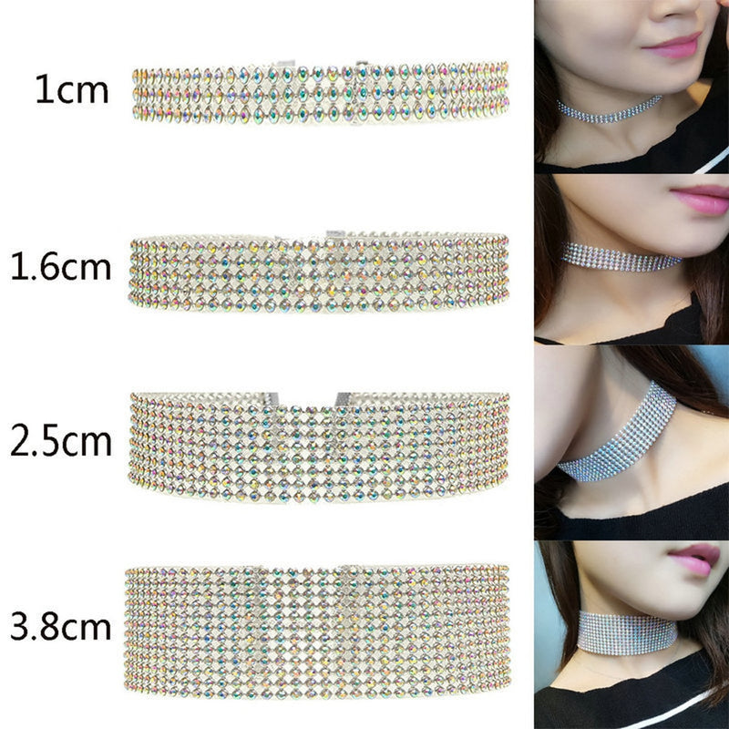 NEW Crystal Rhinestone Choker Necklace Women Wedding Accessories Silver Chain Punk Gothic Chokers Jewelry Collier Femme