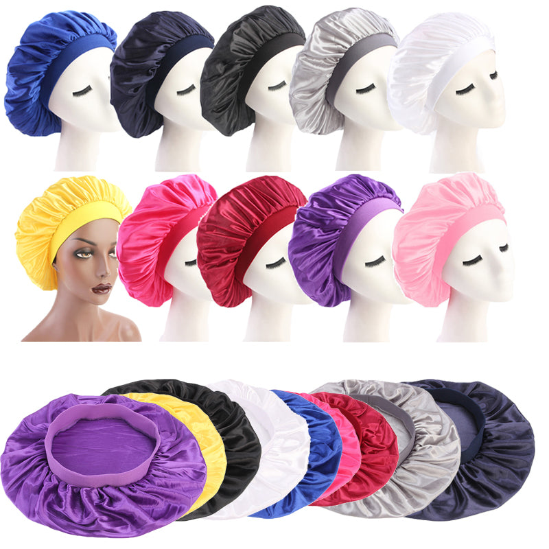 58cm Adjust Solid Satin Bonnet Hair Styling Cap Long Hair Care Women Night Sleep Hat Silk Head Wrap Shower Cap Hair Styling Tool