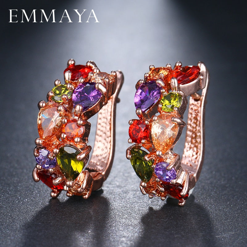 EMMAYA Wholesale Luxury Rose Gold Color Earrings Flash CZ Zircon Ear Studs 12 Colors Earrings Women Cheap brincos